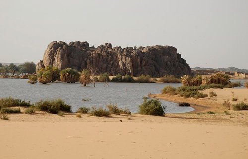 Nile river rock formation and greenery