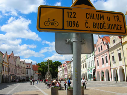 Cycling Signs in Třeboň's main square.