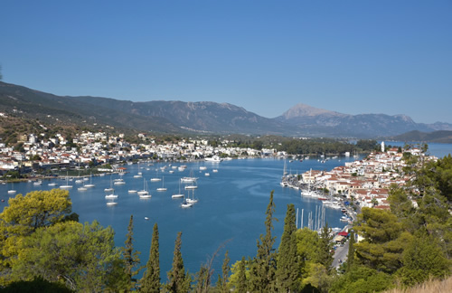 View over Poros, Galatas, and the Saronic Gulf