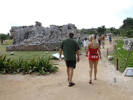 American tourists visiting Tulum