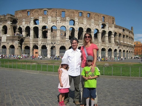 Author with family Roman Colosseum