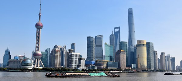 Pudong district skyline of Shanghai seen from Bund