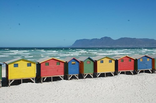 Beach houses of Muizenberg, South Africa