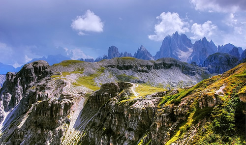 South Tyrol with Dolomites mountains in background