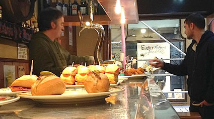 Large selection of pintxos