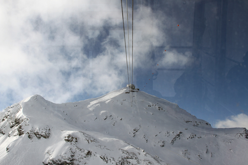 Riding the Gondola up to the Schilthorn