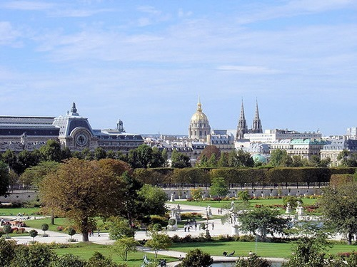 Tuileries gardens in Paris, France