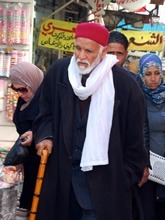 Man in Sfax Medina with cane