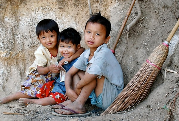 Children in a village in Myanmar