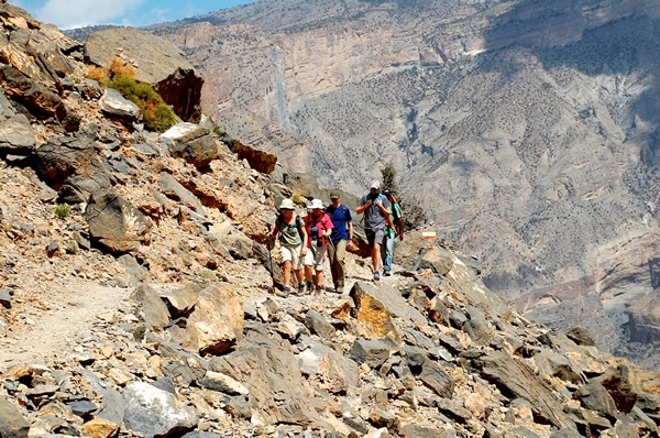 Trekking through the hills of Oman