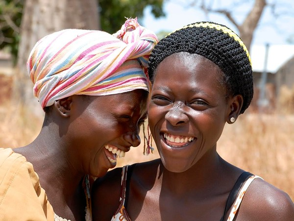 Giggling girls in the Gambia