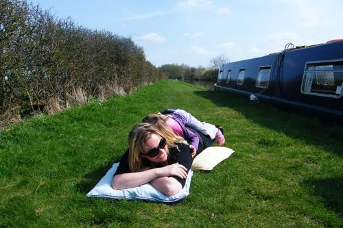 Alice hanging out next to her narrow boat in the UK