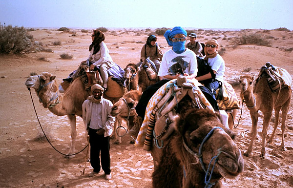 Family and children after night in Sahara Desert