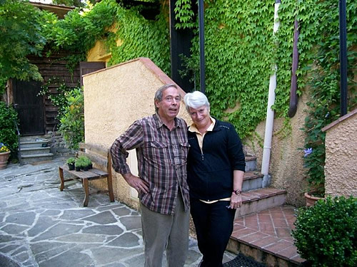 Author and husband at a B and B in Italy