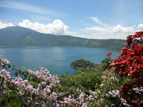 El Salvador lake and flowers