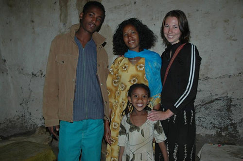 Mekonen's family with author in Ethiopia
