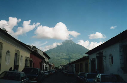 Volcano seen from street in Antigua
