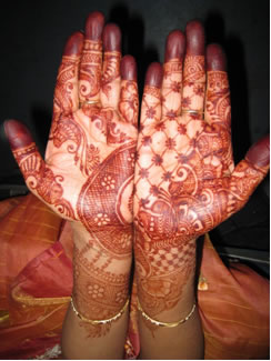 Henna-painted hands