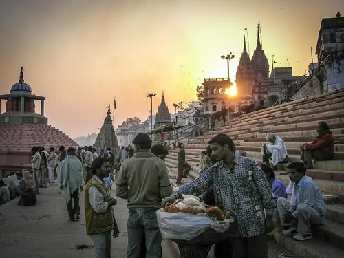 Sunset on the ghats in Varanasi, India