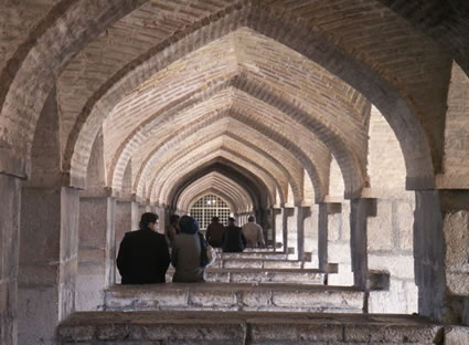 Lower level of Khaju Bridge, Esfahan, Iran