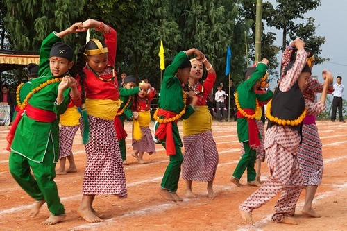Children dancing in Himalayan town