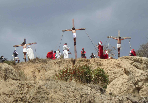 Re-enactment of Crucifixion scene