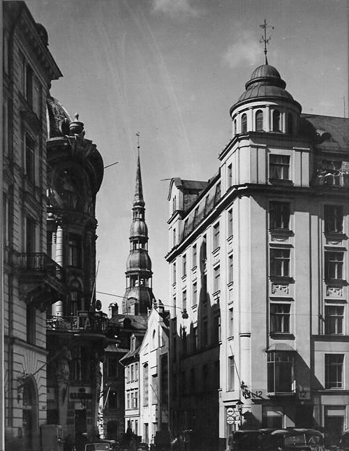 Street in Riga, Latvia in 1938