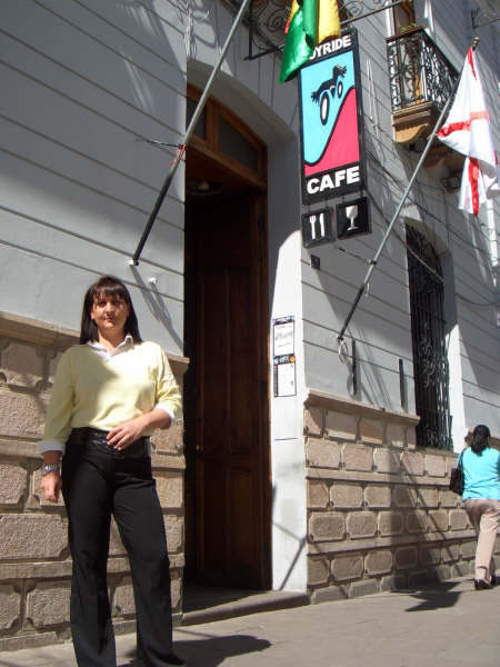 In front of Joy Ride Cafe in Sucre Bolivia