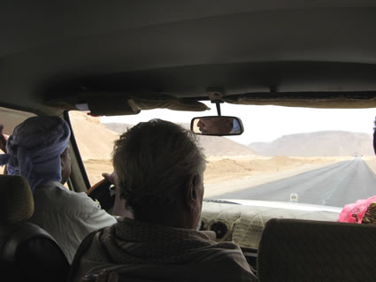 Driving in a Jeep in Yemen.