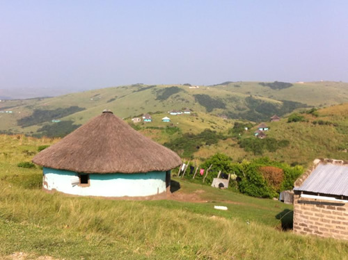 Zulu huts on hills in South Africa