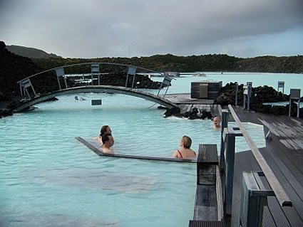 Swimming in a blue lagoon in Iceland.