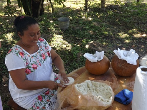 Woman making tortillas in Mexico