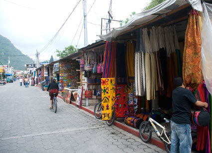 Stalls along Panajachel�s main tourist drag