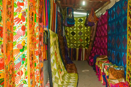 A textile stall in Panajachel.