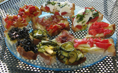 Local foods made into a Bruscetta