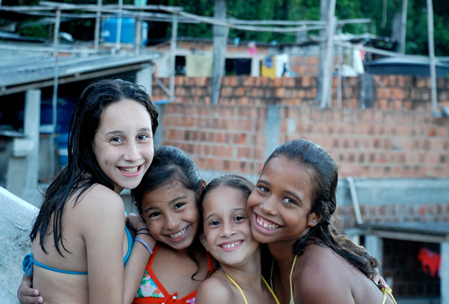 Girls in Taveres Bastos favela in Rio