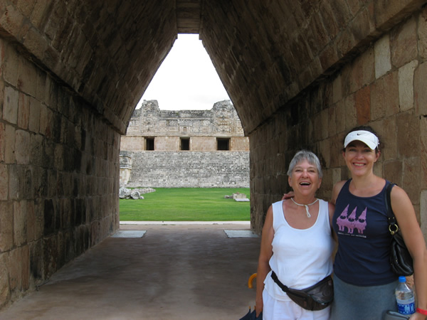 Travel with a Senior Parent at Uxmal, Mexico