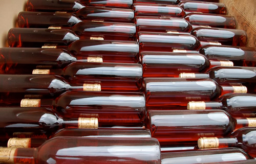 Bottles of wine in Bordeaux