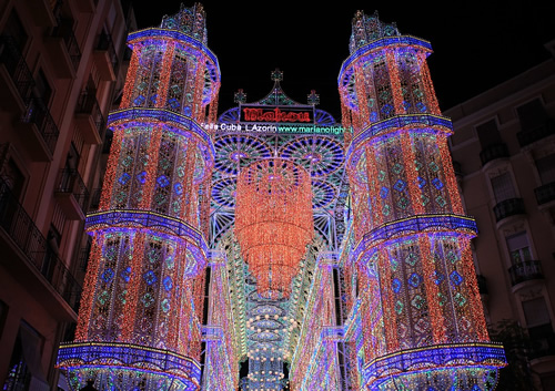 An light installation at the spring festival in Valencia, Spain