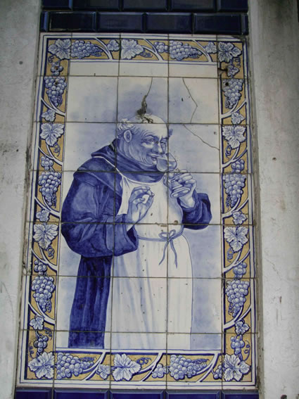 Monastic wine-making in honored in Lisbon, Portugal street tiles