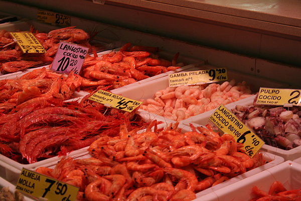 Prawns at Santa Caterina market, Barcelona