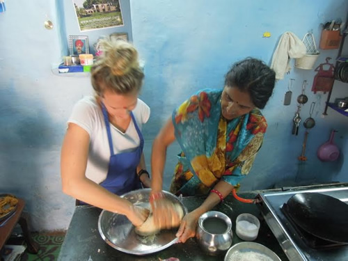 Folding pakora with Sashi at her cooking school in India