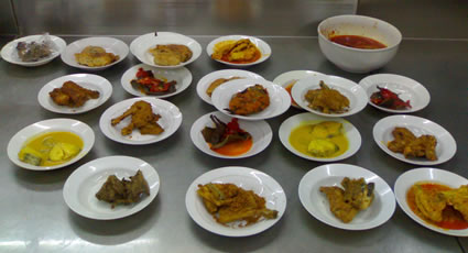 Padang dishes in a restaurant in Indonesia