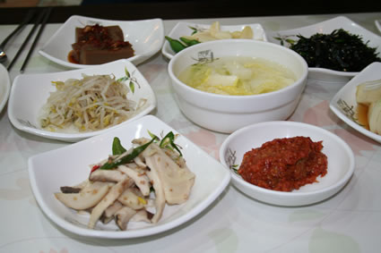 A selection of Korean banchan.
