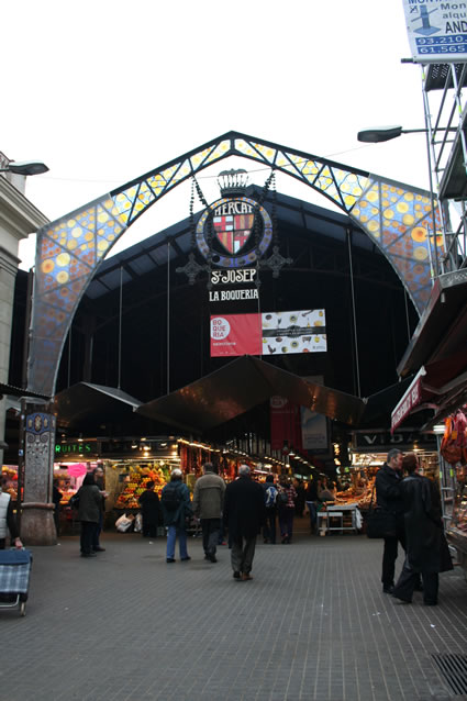 Entrance to La Boqueria Market, Barcelona. Photo courtesy of Transitions Abroad