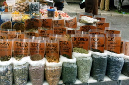 Medicinal Herbs at Ribadesella market in Spain.