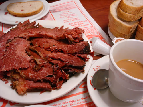 Montreal where you can enjoy coffee and smoked meat