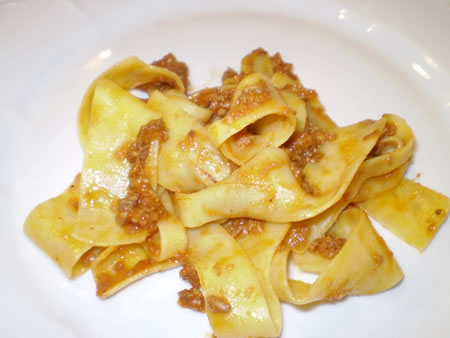 Papardelle with wild boar sauce at Da Bogaga in Siena