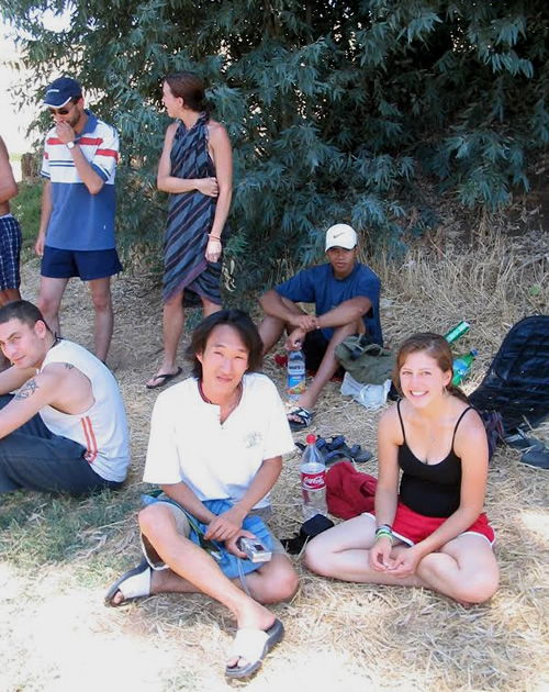 Volunteers resting at a Kibbutz