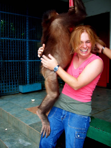 Sarah Maurer with orangutan